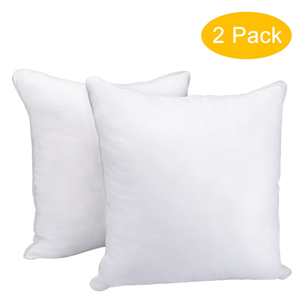 HOMEIDEAS Pillow Inserts - Square Super Soft 100% Cotton Cover and Microfiber Filled, Hypoallergenic Pillow Insert Cushion, 18 x 18 inch - Set of 2 (White)