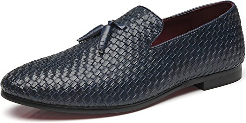 - Men's Woven Lux Loafers Modern Casual Tassel Round Toe Slip-on Leather Moccasin Driving Shoes (12.5, Blue)