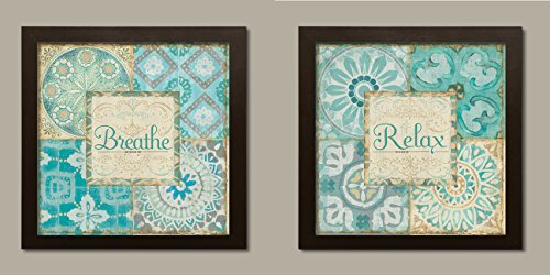 Lovely Breathe and Relax Inspirational Patterned Spa Set by Pel Studio Two 12x12in Brown Framed Prints, Ready to Hang