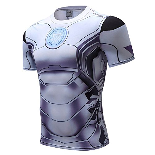 Iron Man Outfit For Sale (HOCOOL Super Hero Series Men's Compression Sport Tee Casual Quick-dry Shirt 4XL)