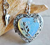 White Opal Crystal Heart Music Box Locket