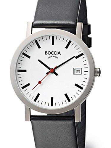 Boccia Mens Silver Quartz Watch with 38mm Titanium Case and Leather Strap 3538-01