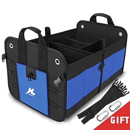 Car Trunk Storage Organizer, Auto Portable Collapsible Trunk Organizer H-Zonealp Heavy Duty waterproof Cargo Storage Bin and Carrier for Car /Truck /SUV /Van with Straps (NEW Version)