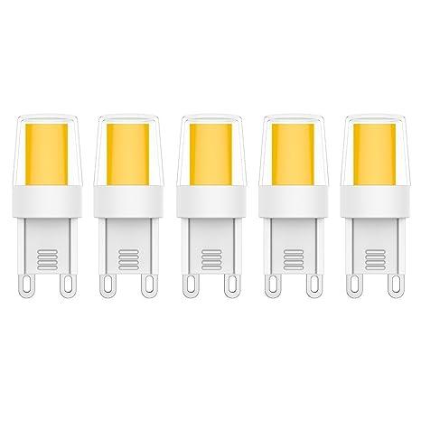 5X G9 Bombillas LED 2.5W Bombillas Lámpara LED Blanco Cálido 3000K 0920 COB LED Lámpara