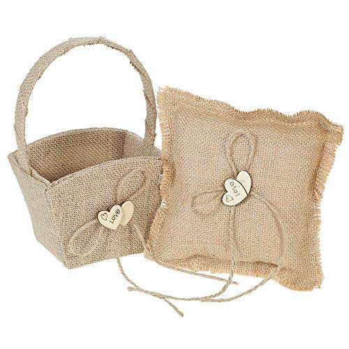 ZHX 6 6 inches Vintage Burlap Double Heart Ring Bearer Pillow and Rustic Wedding Flower Girl Basket Set Multi One Size from ZHX