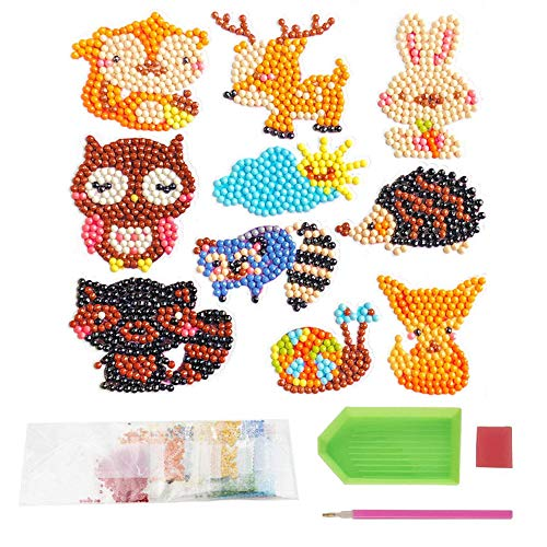 (Finduat 5D DIY Diamond Painting Kits for Kids, Mosaic Sticker by Numbers Kits Arts and Crafts Set for Children ( Jungle Animals, 10 Piece ))