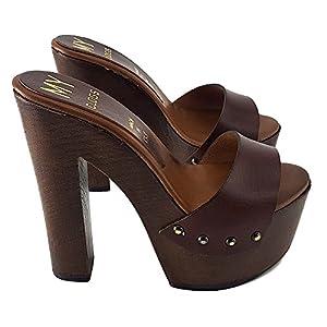 Kiara Shoes Zoccoli in Cuoio Tacco 14 cm -MY3410