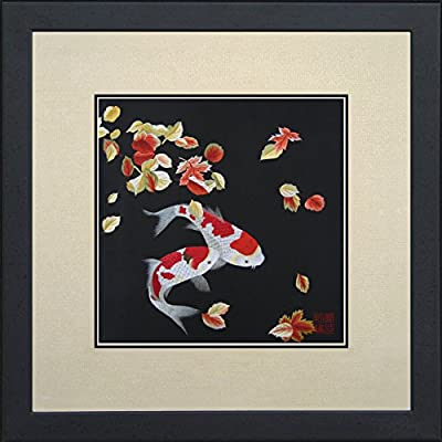 """King Silk Art Handmade Embroidery Pair of Red & White Japanese Koi with Maple Leaves 32014 - 100% Natural Real Silk Material.  Image size 7.5""""x7.5"""", overall size with mat 12""""x12"""".  Artwork with frame, overall size 13""""x13"""".       - wall-art, living-room-decor, living-room - 51Sc9Pnr2KL. SS400  -"""
