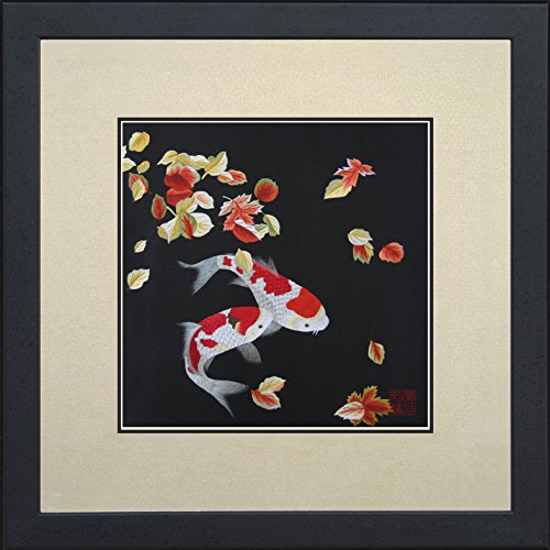 andmade Embroidery Framed Pair of Red & White Japanese Koi with Maple Leaves Oriental Wall Hanging Art Asian Decoration Tapestry Artwork Picture Gifts 32014WFB1 ()
