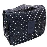 CalorMixs Hanging Toiletry Bag, Travel Organizer Cosmetic Wash Make Up Bag Case for Women Men Toiletry Kit Cosmetic Bag Travel Accessories, Navy Circle