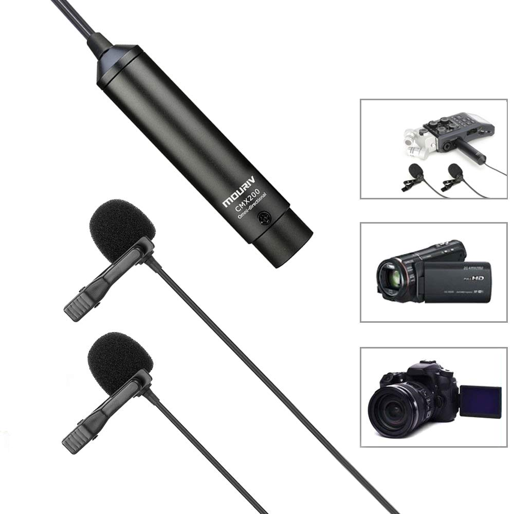 20ft Dual Head XLR Lavalier Microphone, MOURIV Omni-directional Phantom Power Lapel Clip on Mic Interview Kit for Canon Sony Panasonic Camcorders ZOOM H4n H5 H6 Tascam DR-60D DR-70D DR-100 Recorder