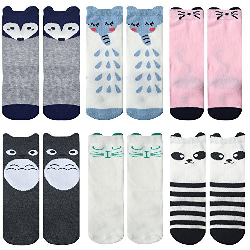 Fasker 6 Pairs Unisex Baby Girls Socks Knee High Socks Cartoon Animal Stockings