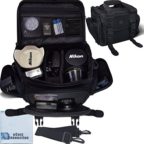 Deluxe Large Digital Camera / Video Padded Carrying Bag / Case for Nikon, Sony, Pentax, Olympus Panasonic, Samsung, and Canon DSLR Cameras & eCostConnection Microfiber (A550 Dslr Camera)