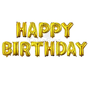 Takefuns Happy Birthday Balloons BannerFoil Letters Mylar For Party Decoration