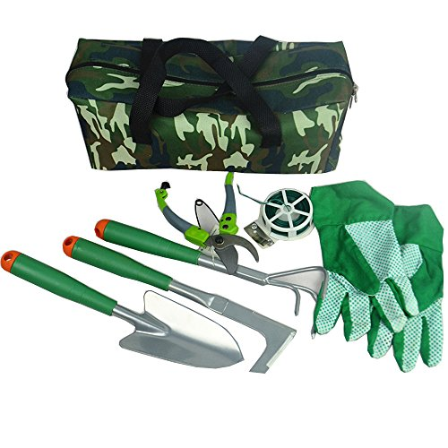 Icepark Garden Tools Set Gloves Heavy Duty Gardening Kit Pruners with Bag Durable Steel Handle Accessories 7PCS