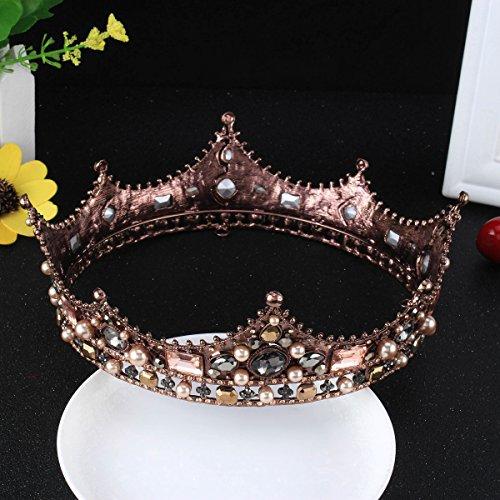 [FUMUD Baroque Vintage Black Rhinestone Beads Round Big Crown Wedding Hair Accessories Luxury Crystal Queen King Crowns Bridal Tiaras] (Crowns For Queens)