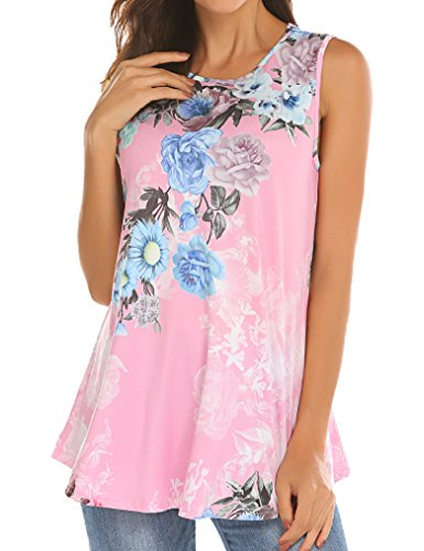 Tobrief Women Sleeveless Floral Print Swing Tunic Tank Tops (Pink, S)