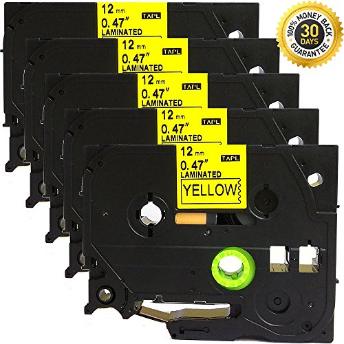 Brother Tz Tape Cartridge - 5PK Great Quality Compatible for Brother P-Touch Laminated Tze Tz Label Tape Cartridge 12mmx8m (TZe-631 Black on Yellow)