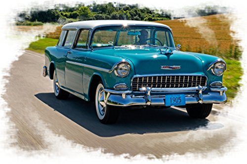 1955-chevy-nomad Factory Stock Beauty Front Picture on Mouse Pad Mousepads Classic Vintage Old Cars Hot Rods Speed Computer Dessktop Supplies