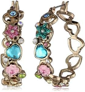 "Betsey Johnson ""Fairyland"" Multi-Charm Hoop Earrings"