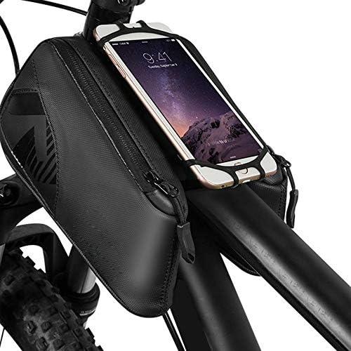 自転車バッグ 自転車トップチューブバッグ フレームバッグ 360°回転携帯電話のホールダーが付いているバイクの前部フレーム袋の上の管のバイク袋 適用 旅行/アウトドア/スポーツ/遠足など (Color : Black, Size : 20*10*5cm)