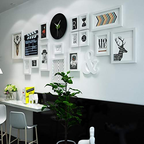 (Jjek K Wooden Photo Frame Photo Wall, Creative Multi-Element Art Painting Black Wall Clock Movie Board Box Combination Set A Total of 18pcs)