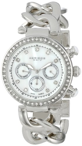 Akribos XXIV Women's AK640SS Lady Diamond Swiss Multifunction Mother-of-Pearl Crystal Silver-tone Twist Chain Link Bracelet Watch