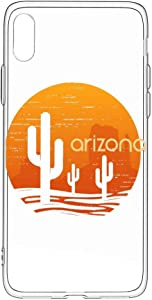 Landscape of Arizona State iPhone Xs Case/iPhone X Case, Slim Fit Soft Silicone TPU Cover Case Compatible with iPhone X/XS 5.8 inch, Clear/Black