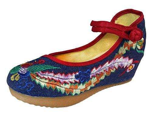 SMITHROAD Damen/Mädchen Slipper Mary Jane Halbschuhe Stickmuster mit Riemen mit Keilabsatz Plateau Sandalen 02 Blau