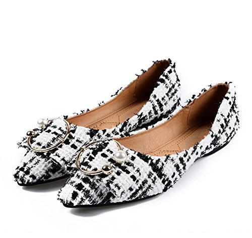 cda2d589d68716 Women s flat shoes thin shoes pointed pointed pointed shallow mouth pearl  B07BKZ89CT Shoes b663ff