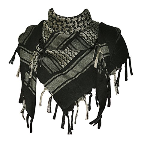 Explore Land 100% Cotton Military Shemagh Tactical Desert Keffiyeh Scarf Wrap (Black and Tan)