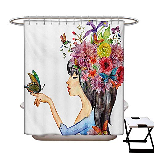 BlountDecor Floral Shower Curtains 3D Digital Printing Colorful Spring Flowers Leaves with a Long Haired Woman Butterfly Artwork Image Custom Made Shower Curtain W48 x L72 Multicolor