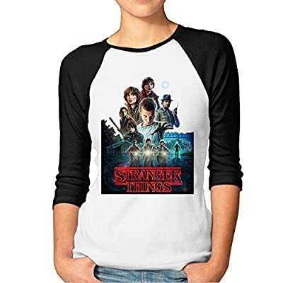 Stranger Things Movie Logo Women Ladies'raglan Shirts Funny Baseball Tee