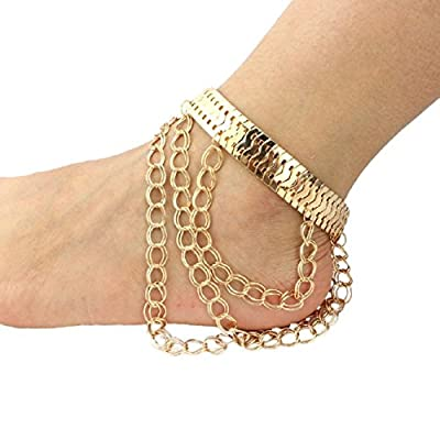 Cheap SusenstoneFoot Metallic Exaggerated Heels Tassel Anklets