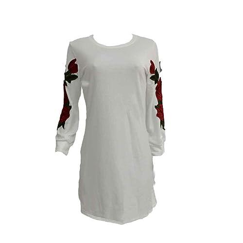 Masterein Otoño Invierno Suave Hoodie Vestido Mujeres de manga larga Vintage Floral Bordado Vestidos...