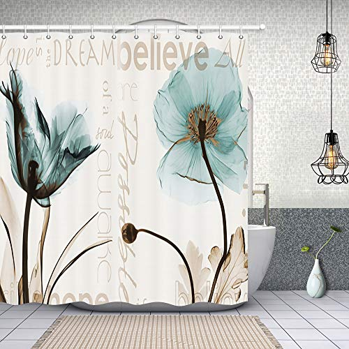 Rustic Elegant Teal Tulip Flower Shower Curtains, Vintage Spring Floral Tulip Flowers in Beige, Polyester Fabric Waterproof Xray Flower Shower Curtain, Bathroom Accessory Sets, Hooks Included, 70X70in (Teal Curtains Vintage)