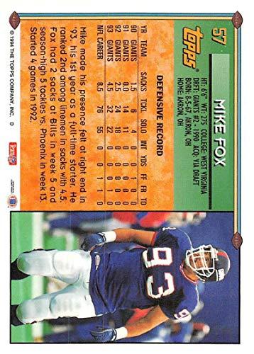 amazon com 1994 topps football card 57 mike fox new york giants