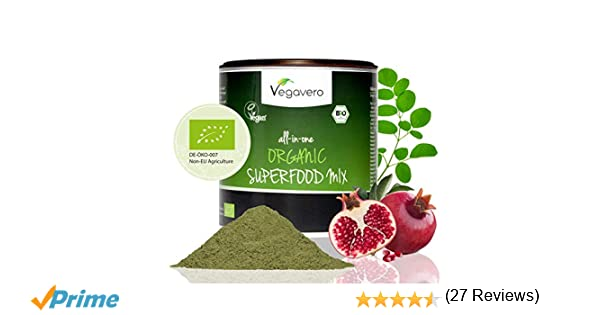 BIO Superfood Mix Vegavero® | 200 g | 17 Superalimentos Orgánicos: Espirulina + Chlorella + Moringa + Matcha + Jengibre + Cúrcuma + Ortiga, etc | SIN ...