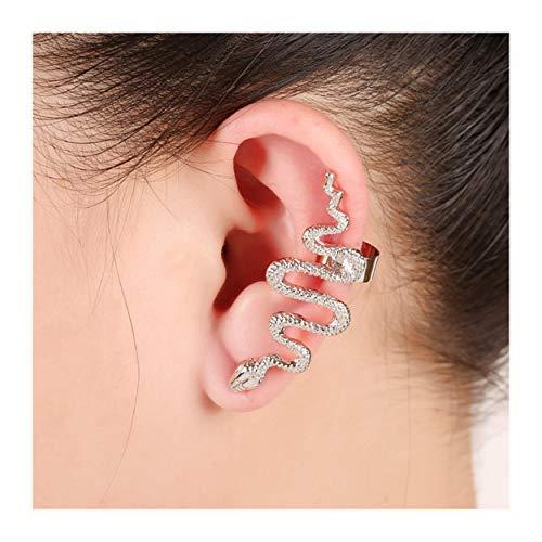 Snake Post - MIXIA 1 Pair/Set Gold Tone Punk Winding Snake Serpent Post Stud Ear Cilp Climber Ear Cuff Earring Jewelry (Silver)