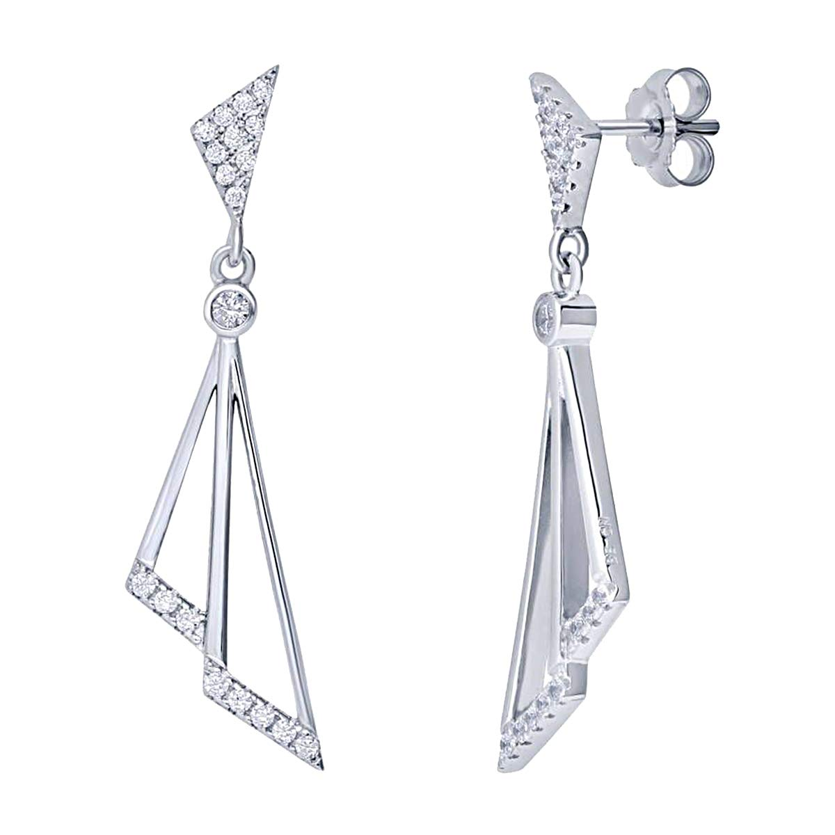 0.50 Ct Round Cut Simulated Diamond Triangle Dangle Earrings In 14K White Gold Plated