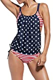 Women Push Up Tankini With Panty Two Pieces Swimsuit Set American Flag L