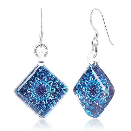 Sterling Silver Hand Blown Venetian Murano Glass Blue Mandala Flower Square Dangle Earrings]()