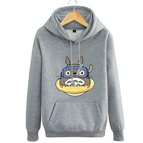Double Villages Unisex Anime Sweater Shirt My Neighbor Totoro Long Sleeve Fleece Hooded Sweatershirt (Grey, L)