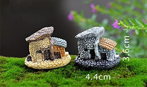 SUN-E 8pcs Random Color in Set Moss Fairy Miniature Fairy Garden Stone House Statue Home Decoration Outdoor Decor