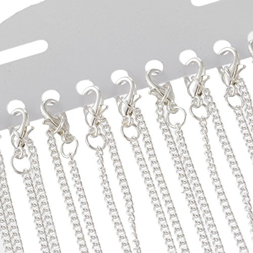 HOUSWEETY 12 Silver Plated Link Chain Necklaces 2x3mm 18