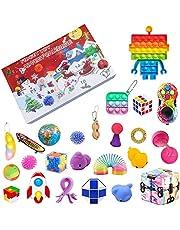 Fidget Toys jul nedräkningskalender, 24 dagars adventskalender sensorisk leksaksset presentförpackning 2021 Push Pop Simple Dimple Party Favor överraskning gåvor för pojkar flickor