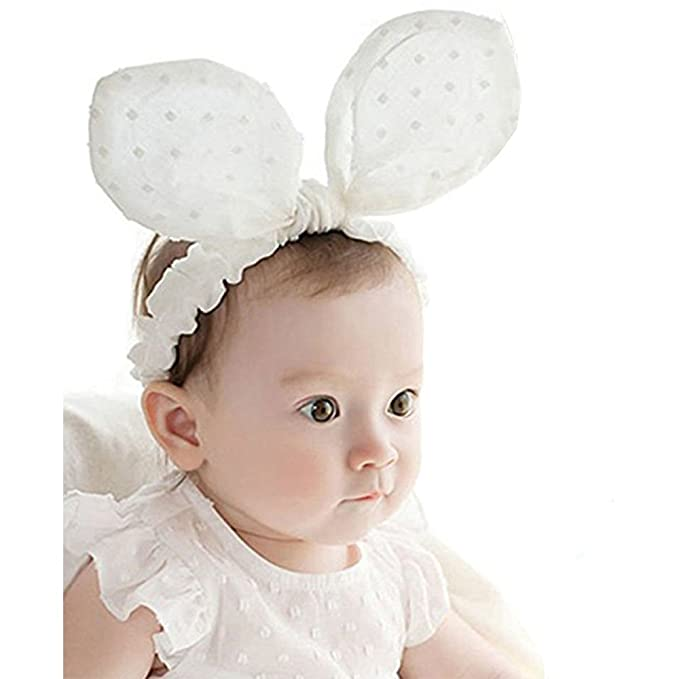 Image Unavailable. Image not available for. Color  RQJ Baby Girls Headband  Rabbit Bow Cute Bunny Ear Elastic Minnie Mouse Headwrap Infant Headwear  Turabn 69e8add5c1e2