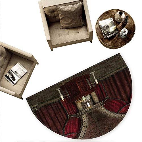 - Gothic Half Round Door mats Mysterious Dark Room in Castle Ancient Pillars Candles Spiritual Atmosphere Pattern Bathroom Mat H 74.8