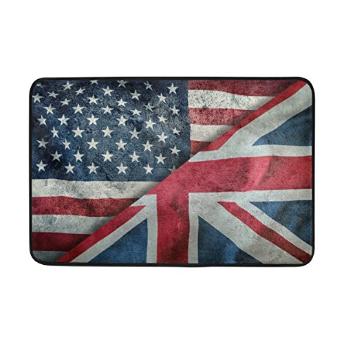 ALAZA 23.6x15.7 inch Non-Slip Polyester Doormat Retro Mixed Flags Of Usa And Uk Union Jack Washable Entrance Rug for Inside Floor Living Room Toilet Patio Garage (Patios Outdoor Uk Rugs)