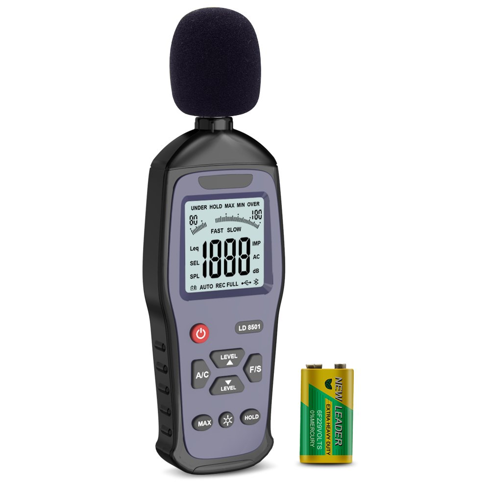 ERAY Sound Level Meter Audio Noise Decibel Meter Backlight LCD Digital 30 to 130dB A/C Mode Fast/Slow Selection Data Max Min Hold Function, Battery Included
